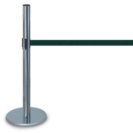 "Chrome ADA Compliant Post with 12'6"" Black/Grey Tape"