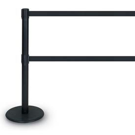 """Chrome Double Tape Post with 12'6"""" Black/Grey Tape"""