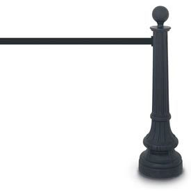 "Black Formal Colonial Tape Post with 12'6"" Black Tape and Round Finial"