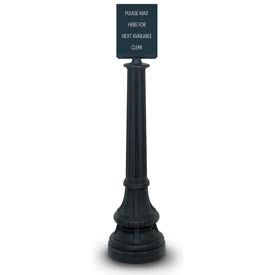"Black Formal Colonial Tape Post with 12'6"" Royal Blue Tape and Sign Finial"