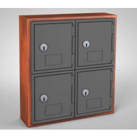 "United Visual Cell Phone Locker UVQ1039 - 4 Door 12"" x 4"" x 13-1/2"" Cherry/Grey Door w/Key Lock"