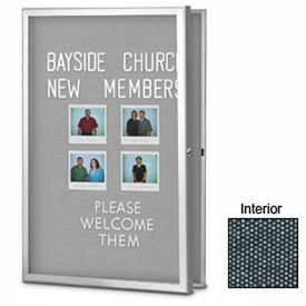 "United Visual Products 24""W x 36""H Radius Slim Line Enclosed Black Easy Tack Board"