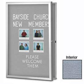 "United Visual Products 24""W x 36""H Radius Slim Line Enclosed Gray Easy Tack Board"