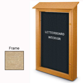 """United Visual Products 26""""W x 42""""H Single Door Letter Board Message Center with Sand Frame"""