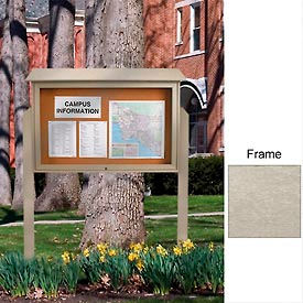"45"" x 30"" Cork Top-Hinged Single Door Message Center with Light Gray Frame"