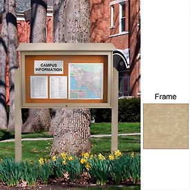 """United Visual Products 52""""W x 40""""H Cork Top-Hinged Single Door Message Center with Sand Frame"""