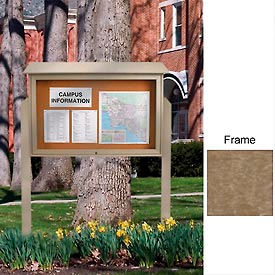 """United Visual 52""""W x 40""""H Cork Top-Hinged Single Door Message Center with Weathered Wood Frame"""