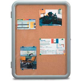 "United Visual Products 24""W x 36""H Image Enclosed Corkboard with Gray Frame"