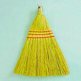 """10"""" Wooden Whisk Broom W/ Corn Fiber Bristles, Yellow 12/Pack - UNS951WC"""