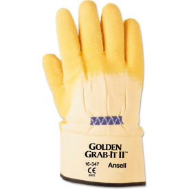 Ansell 16-347-10 Golden Grab-It II Heavy-Duty Work Gloves, Size 10, Yellow, 12 Pairs by