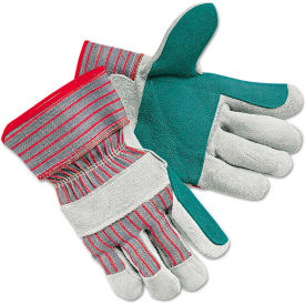 MCR Safety 1211J Men's Economy Leather Palm Gloves, White/Red, Large, 12 Pairs