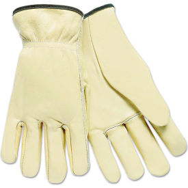 MCR Safety 3200L Full Leather Cow Grain Driver Gloves, Tan, Large, 12 Pairs