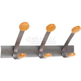Alba PMV3 Wooden Coat Hook, Three Wood Peg Wall Rack