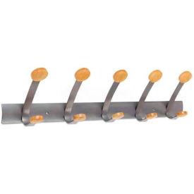 Alba PMV5 Wooden Coat Hook, Five Wood Peg Wall Rack