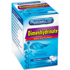 PhysiciansCare® Dimenhydrinate (Motion Sickness) Tablets, 2/Pack, 50 Packs/Box