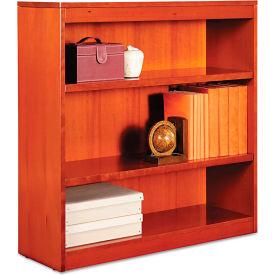 "Alera ALEBCS33636MC Square Corner Wood Veneer Bookcase, 3-Shelf, 35 5/8""Wx11-3/4""Dx36""H, Cherry"