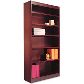 "Alera ALEBCS67236MY Square Corner Wood Veneer Bookcase, 6-Shelf, 35 5/8""Wx11-3/4""Dx72""H, Mahogany"