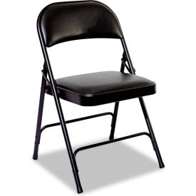 Alera Steel Folding Chair With Padded Back & Seat Black 4/Carton by