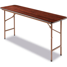 Alera® Laminate Folding Table, Rectangular, 60w x 18d x 29h, Walnut
