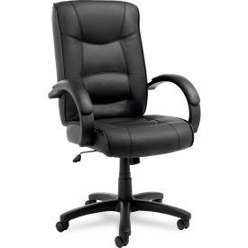 Alera® Strada Series High-Back Swivel/Tilt Chair, Black Leather Upholstery