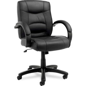 Alera® Executive Office Chair with Swivel/Tilt - Leather - Mid Back - Black - Strada Series