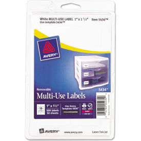 Avery® Print or Write Removable Multi-Use Labels, 1 x 1-1/2, White, 500/Pack
