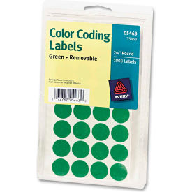 "Avery® Print or Write Removable Color-Coding Labels, 3/4"" Dia, Green, 1008/Pack"