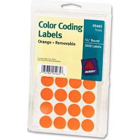 """Avery® Print or Write Removable Color-Coding Labels, 3/4"""" Dia, Orange, 1008/Pack"""
