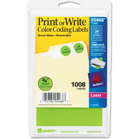 "Avery® Print or Write Removable Color-Coding Labels, 3/4"" Dia, Neon Green, 1008/Pack"