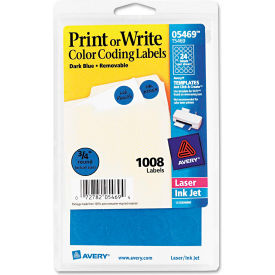 "Avery® Print or Write Removable Color-Coding Labels, 3/4"" Dia, Dark Blue, 1008/Pack"