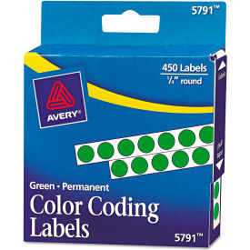 """Avery® Permanent Self-Adhesive Color-Coding Labels, 1/4"""" Dia, Green, 450/Pack"""