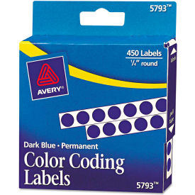 """Avery® Permanent Self-Adhesive Color-Coding Labels, 1/4"""" Dia, Dark Blue, 450/Pack"""