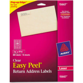 Avery® Easy Peel Mailing Labels For Laser Printers, 1/2 x 1-3/4, Clear, 800/Pack