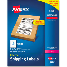 Avery® Shipping Labels with TrueBlock Technology, 5-1/2 x 8-1/2, White, 200/Box
