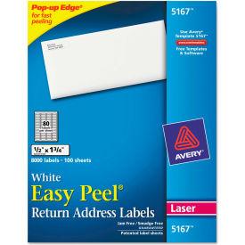 Avery® Easy Peel Laser Address Labels, 1/2 x 1-3/4, White, 8000/Box