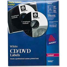 Avery 5692 Laser CD/DVD Labels, Matte White, 40/Pack