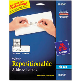 Avery® Repositionable Address Labels for Inkjet Printers, 1 x 2 5/8, White, 750/Box