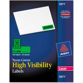 Avery® High-Visibility Laser Labels, 1 x 2-5/8, Neon Green, 750/Pack