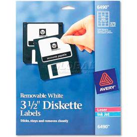 Avery 6490 Laser/Inkjet 3.5in Diskette Labels, White, 375/Pack