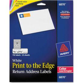Avery® Return Address Labels for Color Laser & Copier, 3/4 x 2-1/4, Matte White, 750/PK