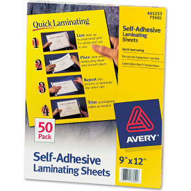 Avery® Clear Self-Adhesive Laminating Sheets, 3 mil, 9 x 12, 50/Box