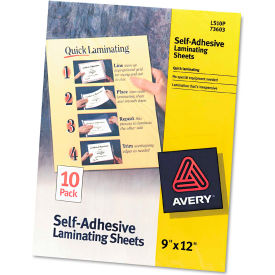 Avery® Clear Self-Adhesive Laminating Sheets, 3 mil, 9 x 12, 10/Pack
