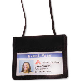 """Click here to buy Advantus ID Badge Holder w/Convention Neck Pouch, Horizontal, 4-3/4"""" x 4-1/8"""", Black, 12/PK."""