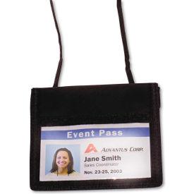 "Advantus ID Badge Holder w/Convention Neck Pouch, Horizontal, 4-3/4"" x 4-1/8"", Black, 12/PK by"