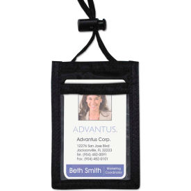 "Click here to buy Advantus ID Badge Holder w/Convention Neck Pouch, Vertical, 3-1/4"" x 5-1/4"", Black, 12/PK."