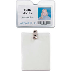 "Click here to buy Advantus ID Badge Holder w/Clip, Horizontal, 4"" x 3"", Clear, 50/Pack."