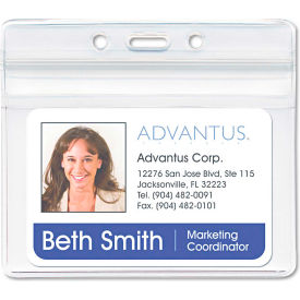 """Advantus Resealable ID Badge Holder, Horizontal, 3-3/4"""" x 2-5/8"""", Clear, 50/Pack by"""