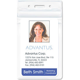 """Advantus Resealable ID Badge Holder, Vertical, 2-5/8"""" x 3-3/4"""", Clear, 50/Pack by"""