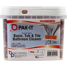 PAK-IT® Basin, Tub & Tile Cleaner, 0.25 oz. Pack, 100 Packs - 5722103100