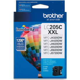 Brother® LC205C (LC-205C) Super High-Yield Ink, 1200 Page-Yield, Cyan